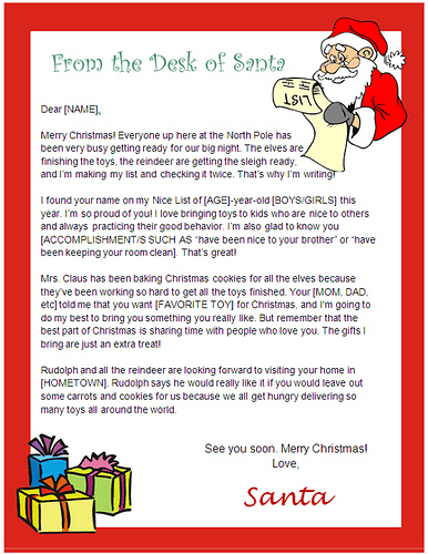 desk of santa letter template