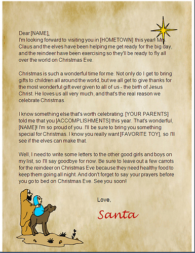 printable christian santa letter template