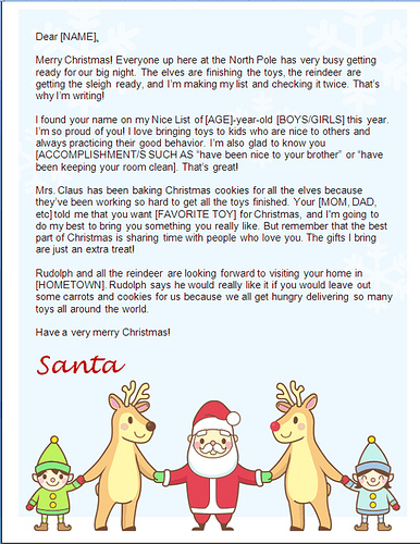 santa letters to print at home - santa holding hands