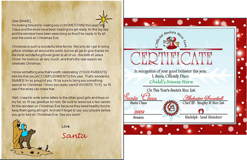 christian letter from santa claus and nice list certificate