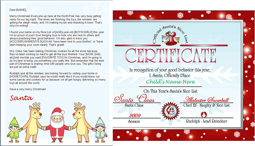 printable santa letter template and nice list certificate - santa friends