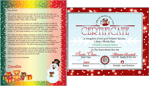 printable letter from santa claus-snowman gifts design