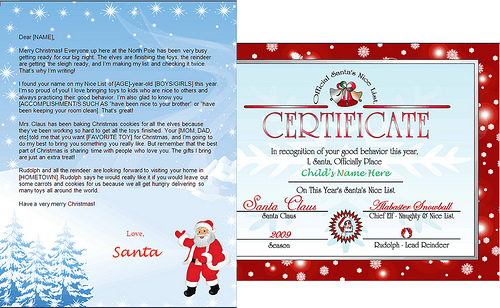 printable santa letter and nice list certificate - santa friends