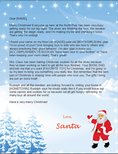 santa letters to print at home-snowy santa design