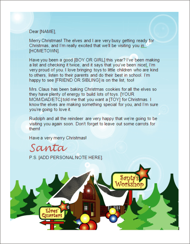 kids Santa letter - North Pole 1