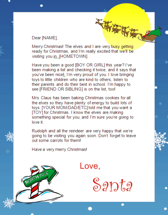 kids Santa letter - North Pole 2