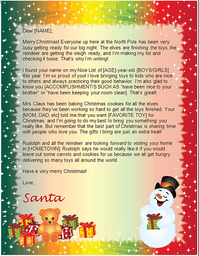 santa letter template - snowman gifts