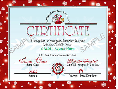 Santa's Nice list certificate - red