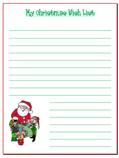 Influential image for santa list printable
