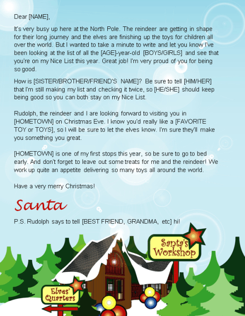 santa letter template - north pole design