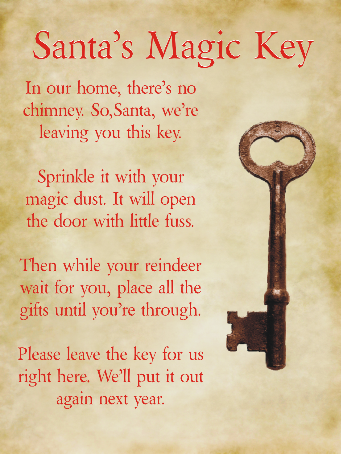 santa magic key free printable poem